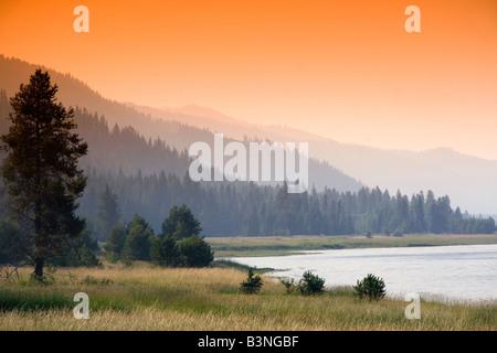Sunset at Lake Cascade in Valley County Idaho - Stock Photo