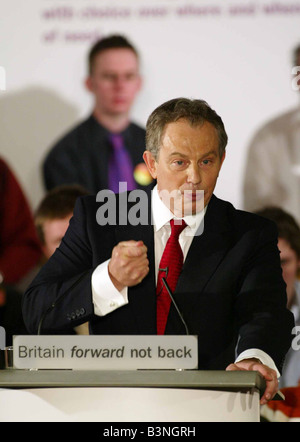 Tony Blair Prime Minister attending an adoption meeting of the Sedgfield Labour Party to elect him as the candidate - Stock Photo
