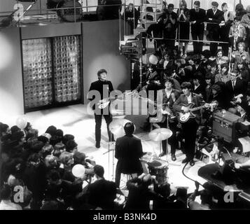 The Beatles appearing on the television Show Around the Beatles 1964 - Stock Photo