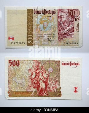 500  Portuguese money National Bank Currency Portugal before the Euro - Stock Photo