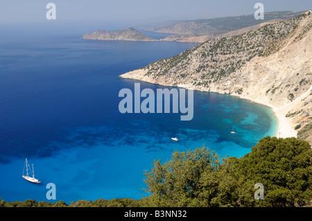 Myrtos Beach, Pylaros region, Kefalonia, Greece - Stock Photo