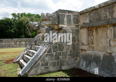 The Platform of the Eagles and Jaguars, Chichen Itza Archeological Site, Yucatan Peninsular, Mexico - Stock Photo