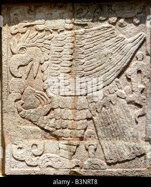 Detail of Eagle Carving on the Platform of the Eagles and Jaguars, Chichen Itza, Yucatan Peninsular, Mexico. - Stock Photo