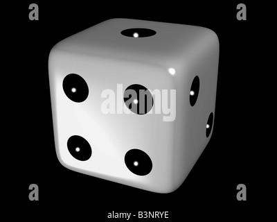 White dice against black background. - Stock Photo