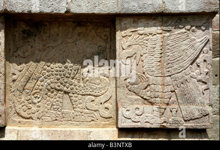 Detail of Eagle and Jaguar Carvings on the Platform of the Eagles and Jaguars, Chichen Itza, Yucatan Peninsular, - Stock Photo