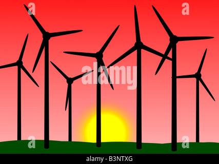 Windmills illustration - Stock Photo