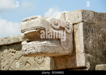 Detail of Serpent Head Carving on the Platform of the Eagles and Jaguars, Chichen Itza, Yucatan Peninsular, Mexico. - Stock Photo