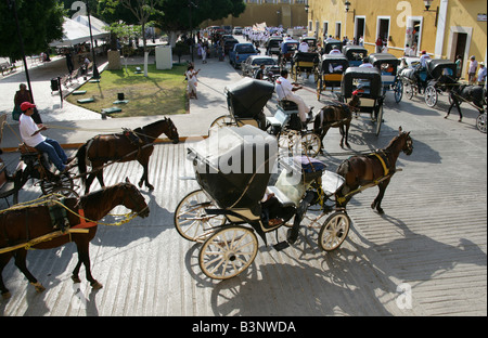 May Day Parade, Plaza de la Constitution, Izamal, Yucatan Peninsular, Mexico - Stock Photo