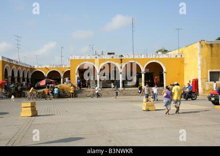 Plaza de la Constitution, Izamal, Yucatan Peninsular, Mexico - Stock Photo