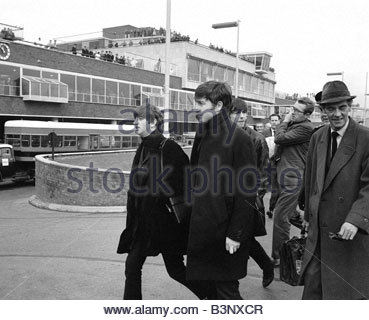 Pop Group The Beatles at London Airport after arriving from Belfast November 1963 - Stock Photo