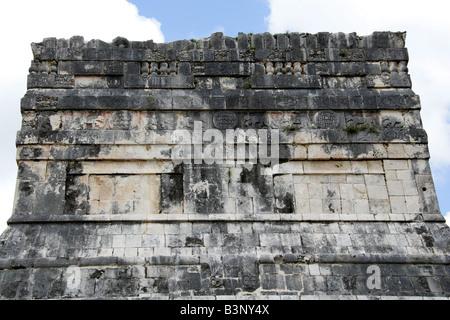 Detail of the Top of the Entrance to the Great Ballcourt, Juego de Pelota, Chichen Itza, Yucatan Peninsular, Mexico - Stock Photo