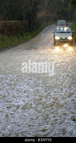 flood weather rain torrential downpour deluge - Stock Photo