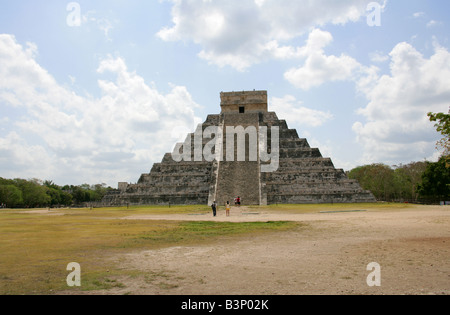The Castle Pyramid (El Castillo Pyramid) or Temple of Kukulcan, Chichen Itza Archaeological Site, Chichen Itza, - Stock Photo