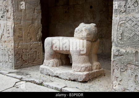 Stone Jaguar at the Entrance to the Great Ballcourt, Juego Pelota, Chichen Itza, Yucatan Peninsular, Mexico - Stock Photo