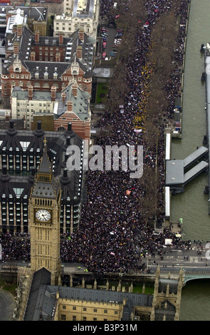 The anti war demonstration in London ending in Hyde Park February 2003 - Stock Photo