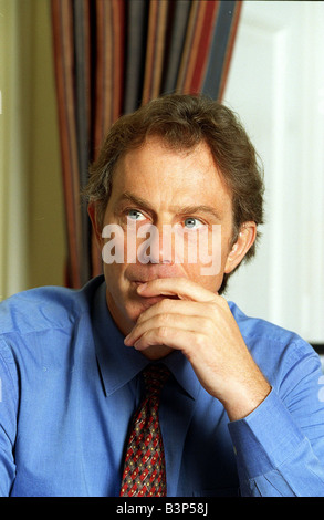 Tony Blair Britains Prime Minister January 1999 at No 10 Downing Street deep in thought - Stock Photo