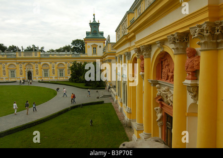 View of the exterior front wall of Wilanow castle, one of the tourist landmark in Warsaw, Poland. - Stock Photo