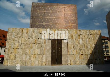 ohel jakob synagogue against a blue sky , jakobsplatz , munich , germany - Stock Photo