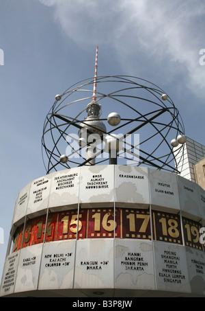 Fernsehturm TV Tower and Atomic world time Clock Alexanderplatz Berlin Germany  May 2008 - Stock Photo