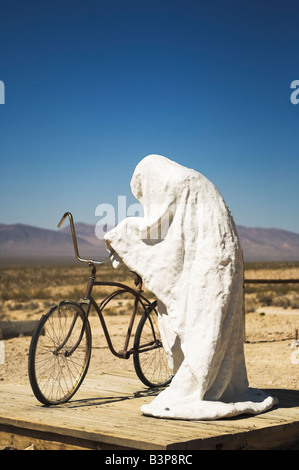 Sculpture 'Ghost Rider' 1984 by Charles Albert Szukalski, at the Goldwell Open Air Museum in Rhyolite, Nevada, USA - Stock Photo