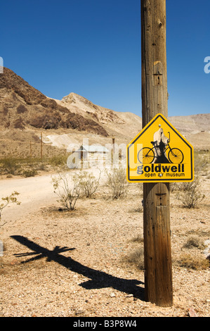 Sign for Goldwell Open Air Gallery in Rhyolite, Nevada, USA. - Stock Photo