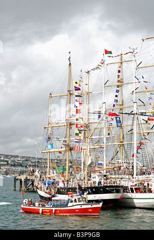 tall ships in falmouth harbour,cornwall,uk prior to the 'funchal 500 tall ships regatta' - Stock Photo