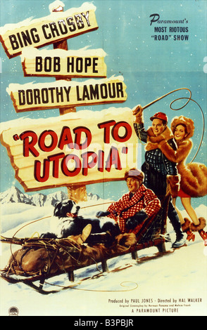 ROAD TO UTOPIA Poster for 1945 Paramount film with Bob Hope, Bing Crosby and Dorothy Lamour - Stock Photo