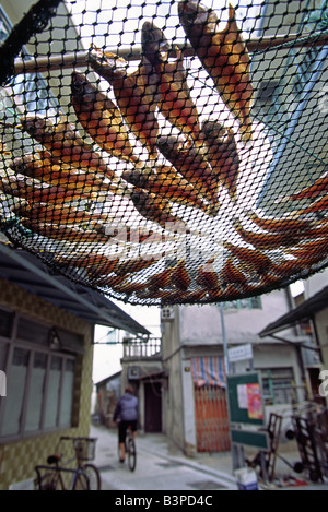 China, Hong Kong, Lantau Island. Fish are laid out to dry above the streets of Tai O - a fishing village on the - Stock Photo