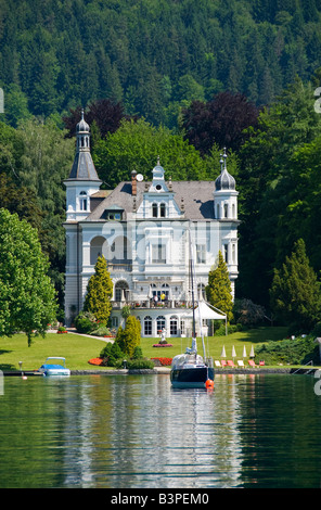 Classical villa in Poertschach on Lake Woerthersee, Carinthia, Austria, Europe - Stock Photo
