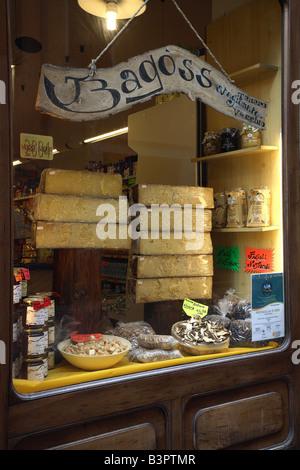 Bagoss typical cheese, Buccio Mario Cooperativa shop, Bagolino, Lombardy, Italy - Stock Photo
