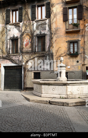 Fountain, Bagolino, Lombardy, Italy - Stock Photo