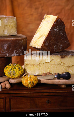 Bagoss typical cheese, Bagolino, Lombardy, Italy - Stock Photo