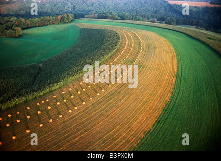 Aerial view of farm fields at dusk, mid-Atlantic region of the USA - Stock Photo