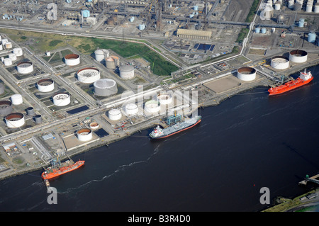 Oil tankers unloading on the River Tees, from the air, Teeside, Northern England - Stock Photo