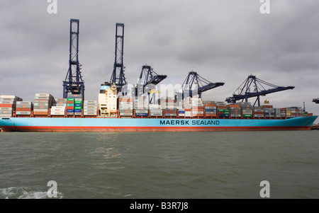 Container ship being loaded at Felixstowe Docks - Stock Photo