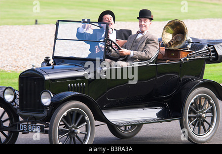 Laurel Hardy Look alikes In a Model T Ford - Stock Photo