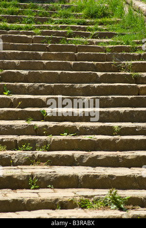 Stairway in Volterra Tuscany Italy - Stock Photo