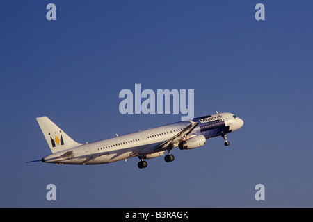 Monarch Airlines Airbus A321-231 Aircraft Reg. G-OZBR on take off from Palma de Mallorca airport. - Stock Photo