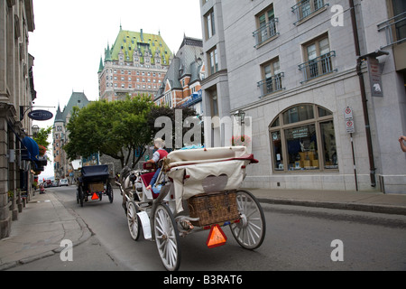 Quebec City at 400 Years Old.  Most of the historic section of Old Quebec is within the walls of Upper Town - Stock Photo