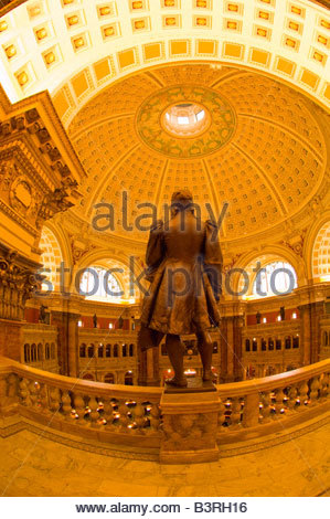 Statues of famous learned men above the Main Reading Room Thomas Jefferson Building The Library of Congress Washington - Stock Photo