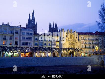 Paseo del Espolon and cathedral. Night view. Burgos. Castile Leon. Spain. - Stock Photo