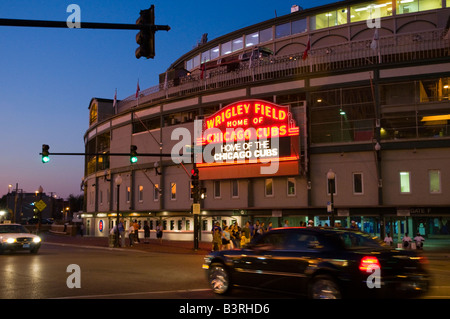 Chicago's Wrigley Field Historic Neon Sign - Stock Photo