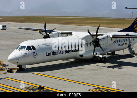 lufthansa regional twin propellor jersey airport - Stock Photo
