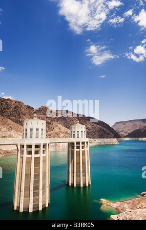 Intake towers at the Hoover Dam on the state border between Nevada and Arizona. - Stock Photo