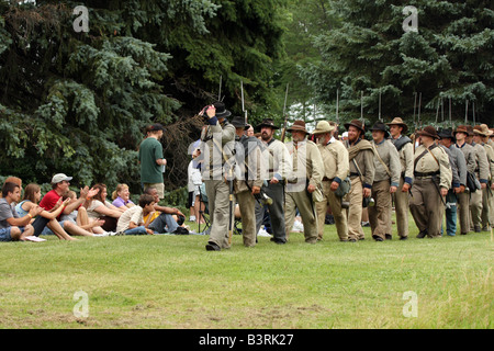 Confederate Soldiers at a Civil War Encampment Reenactment - Stock Photo
