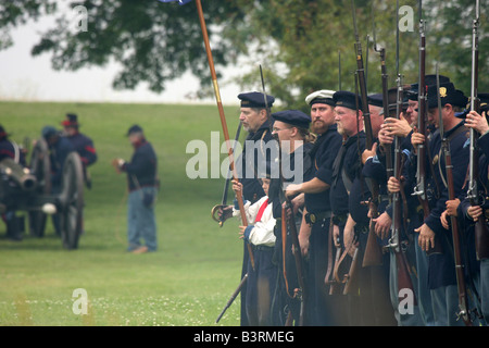 Union Soldiers at attention at a Civil War Encampment Reenactment - Stock Photo
