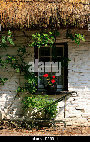 Thatched cottage at Bunratty Folk Park, County Clare, Ireland - Stock Photo