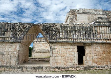 Triangular Door and Columnade Puuc Design Detail Quadrangle of the Birds Uxmal Maya Ruins Yucatan Peninsula Mexico - Stock Photo