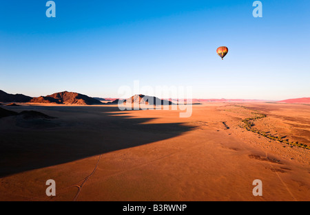 Hot Air Balloon over Naukluft Park, Namibia, Africa - Stock Photo
