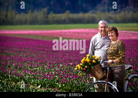 Senior couple with tulips in bicycle basket - Stock Photo